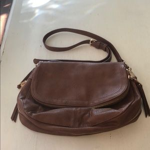 Brown vegan leather purse with gold accents